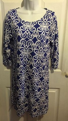 Vineyard Vines Blue White XS Cover Up? Dress? thin cotton modal #vineyardvines #cottonpulloverdressorcoverup #SummerBeach