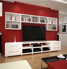 44 Modern TV Stand Designs for Ultimate Home Entertainment Tags: tv stand ideas for small living room, tv stand ideas for bedroom, antique tv stand ideas, awesome tv stand ideas, tv stand ideas creative Living Room Red, Home And Living, Living Room Decor, Kitchen Living, Tv Wall Decor, Muebles Living, Red Walls, Family Room, Sweet Home