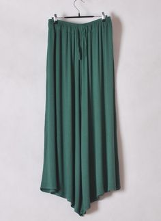 Women Euro Style Loose Big Trouser Legs Casual Elastic Green Cotton Pants One Size@WH0115gr