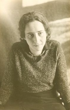 "Johanna Hannah Arendt in the 1930's . . .  A German- American theorist 1906 - 1975. Though often described as a philosopher, she rejected that label on the grounds that philosophy is concerned with ""man in the singular"" and instead described herself as a political theorist."