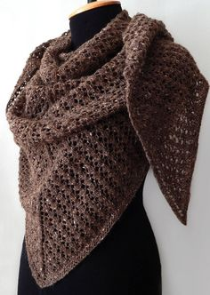 Knitted tweed shawl, knit winter wrap, brown color, chocolate color, woman winter shawl, knitted triangular shawl by SanniKnitting on Etsy