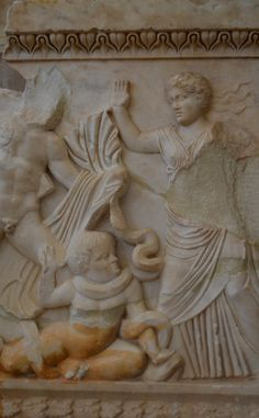 """.:. Archaeological Museum of Ancient Corinth: A sarcophagus with a depiction of the departure of the """"Seven against Thebes"""". Found to the north of the ancient city. (2nd century A.D) The woman over the child attacked by the dragon is probably Hypsipyle."""
