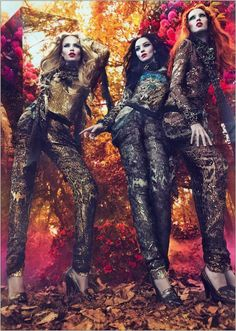 Photographed by Mert Alas & Marcus Piggott in Black Park near London, Natasha Poly, Mariacarla Boscono and Karen Elson are the faces of the Fall/Winter 2011/2012 ad campaign for Roberto Cavalli.