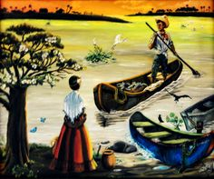 VENDIDO, La llegada del pescador, Tlacotalpan, Veracruz, México, arte, oil paint, by Jorge D. Espinosa