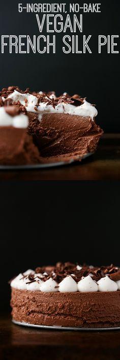 5-Ingredient, No-Bake Vegan French Silk Pie   vegan, gluten-free, paleo