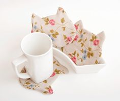 Cat Fabric Coasters for cups in a gift box set of 4 by JuliaWine, $19.00
