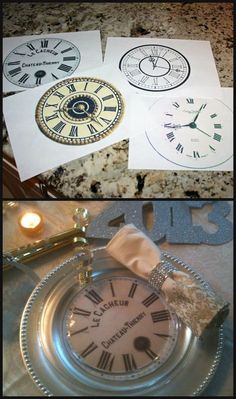 a new year's eve dinner How to make your own Clock Plates - a quick DIY for your Reception - from ciao! newport beach: a new year's eve dinner New Years Eve Day, New Years Eve Dinner, New Years Party, Nye Party, Party Time, Elmo Party, Mickey Party, Dinosaur Party, New Year Clock