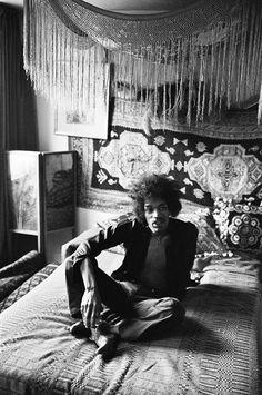 "babeimgonnaleaveu: "" Jimi Hendrix at his Mayfair flat in London, 1969. """