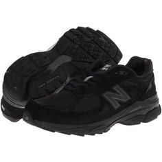 New Balance W990v3 (Black/Black/Black) Women's Running Shoes ($150) ❤ liked on Polyvore featuring shoes, athletic shoes, black platform shoes, shock absorbing shoes, lightweight shoes, athletic running shoes and low platform shoes