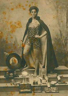 Portrait of Beatrice Kerr in silver fish scale suit