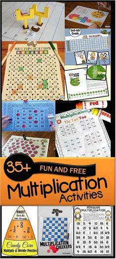 45 FUN and FREE Multiplication Activities (multiplication games multiplication worksheets and more) perfect for summer learning math centers homeschool and more for grade grade grade and grade students. Multiplication Activities, Math Activities, Math Fractions, Maths, Numeracy, 4th Grade Multiplication, E Learning, Blended Learning, Learning Resources