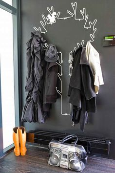 """ouise Hederstrøm's """"Wire Tree"""" coat rack hangs in this Netherlands entryway Entryway Organization, Entryway Decor, Entryway Ideas, Organized Entryway, Hallway Ideas, Tree Coat Rack, Coat Tree, Coat Racks, Tree Outline"""
