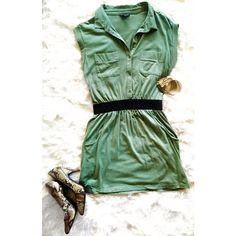 Green Shirt Dress with Cinched Waist and Pockets 3 button cotton shirt dress with black faux belt elastic waistband.  Two breast pockets and two functional pockets just below waistband.  Cuffs at sleeves add a little something extra!  Great for dressing up or down!  Color is a mossy seafoam green.  Great condition. Banana Republic Dresses