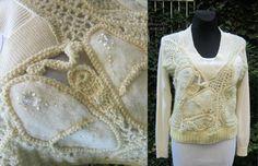 Cream Ivory Crochet Sweater, Crochet Freeform, Sweater Blouse, Irish Crochet, Faux Fur Sweater