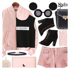 """My picks: Bomber jacket & Ripped shorts from Shein.com"" by pastelneon ❤ liked on Polyvore featuring Linda Farrow, Miss Selfridge and Furla"