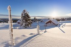Snow Covered Log Cabins at Sunset #500px #norway #norge #sjusjoen #nordseter #lillehammer