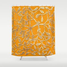 Christmas / Solstice Mistletoe Yellow Shower Curtain by Khana's Web - $68.00