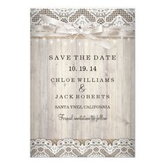 Rustic Wedding Save the Date Rustic Vintage Lace Wood Wedding Save The Date Card