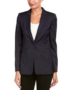 Elie Tahari Womens Wool-Blend Jacket, 4 Color/pattern: blue and black multicolor. Approximately 26in from shoulder to hem. Measurement was taken from a size 4 and may vary slightly by size. Design details: notch lapel, dual front welt pockets, ball crochet trim. Single-button closure. Medium weight. Shell: 56% polyester, 42% wool, 2% elastane. Lining: 88% polyester, 12% elastane. Dry clean only. ImportedColor/pattern: blue and black multicolorApproximately 26in from shoulder