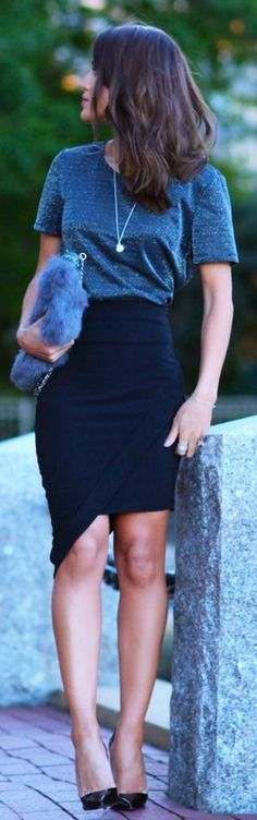 40 Knee Length Skirts Outfit for Working Women #Office Skirt #Working Women