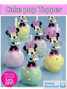 Printable Disney Minnie Mouse Cupcake Topper, Cake Pop Topper,picks, decor, girl #Disney #party