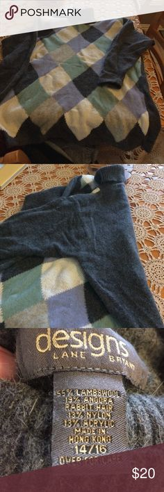 Lane Bryant plus size argyle tunic sweater So pretty. Plus size. Tunic length. Argyle front in lavender, cream, light gray and pistachio green. Back is solid dark charcoal gray. Size 14/16, pet friendly home. Stored in cedar chest. Sweaters Cowl & Turtlenecks
