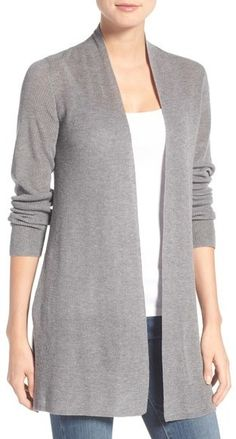 Eileen Fisher Rib Knit Straight Open Front Cardigan (Regular & Petite)