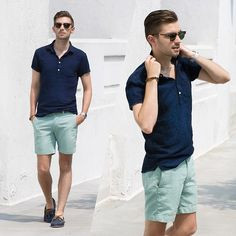 Frank & Oak Popover mensfashion shorts aqua navyblue wayfarer summer loafers klasterme uberman is part of Mens fashion summer - Neue Outfits, Komplette Outfits, Short Outfits, Casual Outfits, Men Casual, Outfit Hombre Casual, Moda Formal, Style Masculin, Summer Shorts Outfits