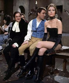 Diana Rigg as The Queen of Sin on the set of The Avengers during the filming of the classic episode, A Touch of Brimstone.