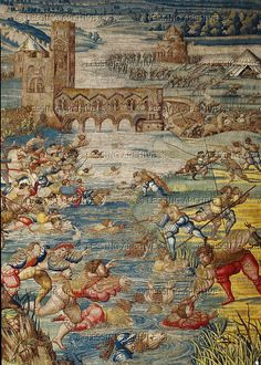 Orley,Bernaert (1492-1542) Seven large tapestries illustrate the Battle of Pavia in 1525,in which Emperor Charles V.defeated French King Francois I. Swiss mercenaries and French soldiers try to rescue their comrades from the river Ticino