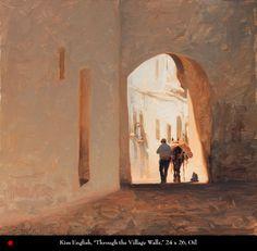 Kim English, Through the Village Walls, 24 x 26, Oil