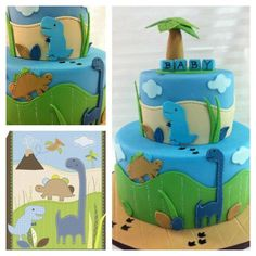 Blue & Green Stitched Dinosaur Baby Cake