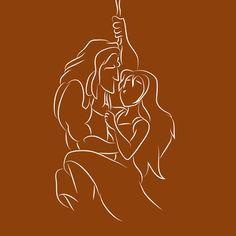 Tarzan e Jane Tarzan Tattoo, Disney Silhouette Art, Disney Silhouettes, Arte Disney, Disney Art, Tarzan Disney, Disney Lines, Tatto Ink, Disney Illustration