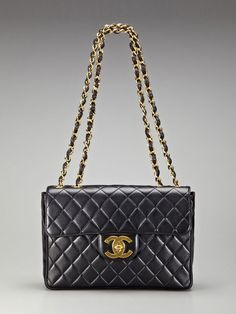 Vintage Black Quilted Lambskin Leather Jumbo  Flap Bag by Chanel http://www.gilt.com/invite/mylink1218476 $3450