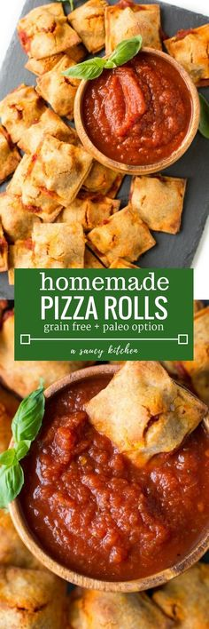 'Healthified Homemade Pizza Rolls made with a grain free sweet potato crust Paleo + Gluten Free + Dairy Free Paleo Pizza, Vegan Pie, Healthy Snacks, Healthy Eating, Healthy Recipes, Paleo Ideas, Clean Eating, Grain Free, Dairy Free