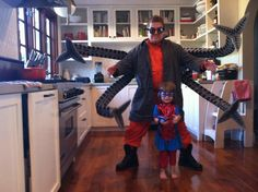 Awesome Father/Daughter Halloween Costume! - American stand-up comedian Patton Oswalt and his daughter are dressed up as Dr. Octopus and lil lady spider-girl!  Happy Halloween!  via buzzfeed