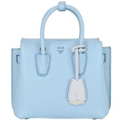 Mcm Women Mini Milla Leather Shoulder Bag ($895) ❤ liked on Polyvore featuring bags, handbags, shoulder bags, purses, light blue, shoulder handbags, man bag, light blue purse, leather hand bags and leather purses