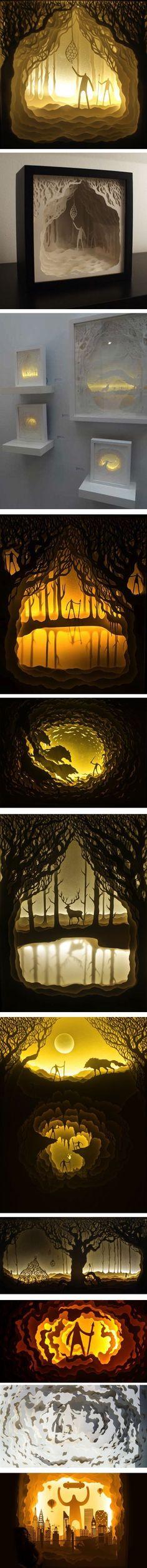 Harikrishnan Panicker and Deepti Nair create cut paper shadow boxes, illuminated with battery powered lights.