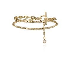 Chaîne d'Ancre Enchaînée Hermes double bracelet in yellow gold with 1 diamond (0.10 ct), size small.