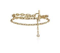 Chaîne d Ancre Enchaînée Hermes double bracelet in yellow gold with 1  diamond (0.10 3735cbbb71d
