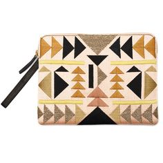 Rental Lizzie Fortunato Desert Safari Clutch found on Polyvore featuring bags, handbags, clutches, floral leather handbag, leather cross body purse, pink leather purse, pink clutches and genuine leather handbags