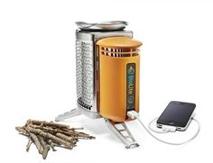 Charges your phone while burning wood.
