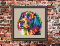Colorful Modern Dog Counted Cross stitch Pattern von KHANNAandILAN