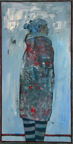 Marga Klumper. Blue Winter. Vrij werk, gelaagd in olieverf met baklijst. Uit serie vrouwen/meisjes.