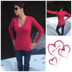 ❄️️Sale❄️ V-Neck Sweater NWOT Fuchsia V-neck sweater pullover. Material is 55% cotton, 25% viscose and 20% polyester.  This is new without tags. Fit true to size.  Model is wearing a small. Sweaters V-Necks