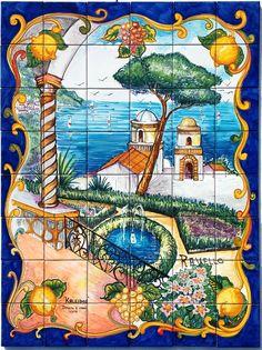 Pannelli a mosaico composti con piastrelle 10x10 cm .. Ceramiche-Vietri.it