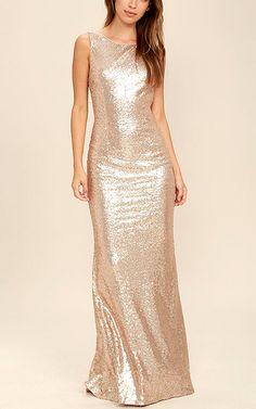 Slink and Wink Matte Rose Gold Sequin Maxi Dress via @bestchicfashion