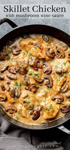 Tender and flavorful, this Skillet Chicken and Mushroom Wine Sauce is easy enough for a weeknight family dinner and good enough for an elegant dinner party with your best company. meat Skillet Chicken and Mushroom Wine Sauce - Saving Room for Dessert Easy Brunch Recipes, Healthy Dinner Recipes, Cooking Recipes, Sauce Recipes, Dessert Recipes, All Food Recipes, Amazing Recipes Dinner, Easy Recipes, Lasagna Recipes