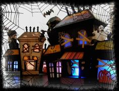 Another Haunted House from Therese from our ELMHURST HOLLOW SVG KIT!  Love this picture!!  Awesome houses!