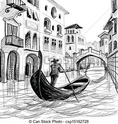 Vector - Gondola in Venice vector sketch - stock illustration, royalty free illustrations, stock clip art icon, stock clipart icons, logo, line art, EPS picture, pictures, graphic, graphics, drawing, drawings, vector image, artwork, EPS vector art